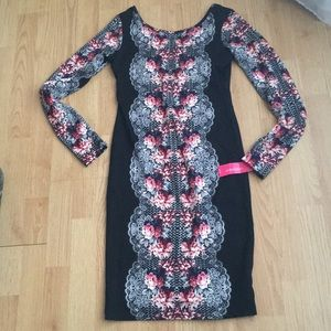 Body con dress black with floral lace pattern